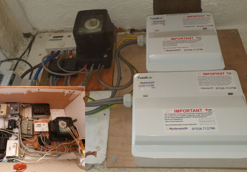 Consumer unit following a rewire (before and after)